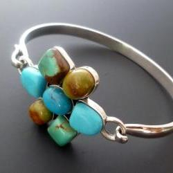 Silver Turquoise Bangle - Sterling Silver and Turquoise Flower Bracelet -OOAK
